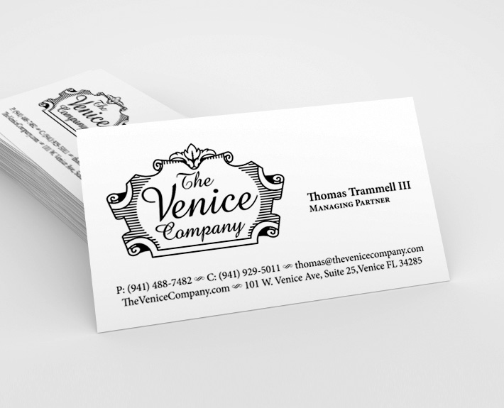 The Venice Company Business Card Design The Venice Company is one of the first companies to be established in Venice, Fl. Currently TVC leases distinctive retail, commercial and office properties in Downtown Venice, Florida.